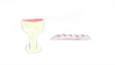 Tegning af kalken og et brød.