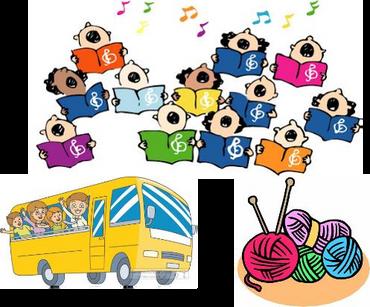 Tegninger af kor en bus et strikketøj