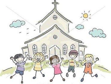 Børn foran kirke