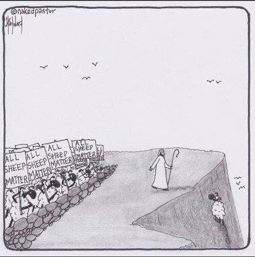Tegning af Jesus på vej ud for at redde et får