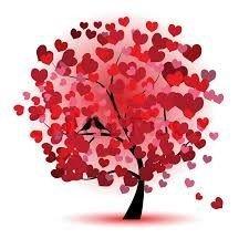 Tegning af træ, røde hjerter som blade