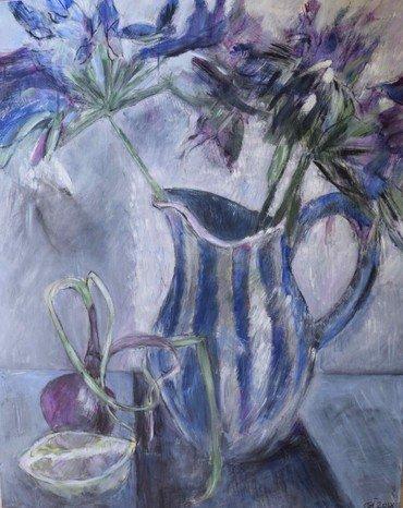 Foto af maleri. Kande med blomster i.