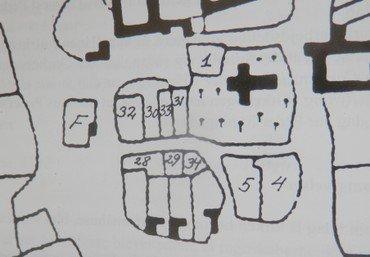 Kvarteret omkring kirken 1782 med de mange små husmandssteder. Nr. 1 er skolen (indtil 1857), F = fattighuset, 28 den lille præstegård, 29 – 34 er præstens huse, 4-5 er kirkens fæstehuse.