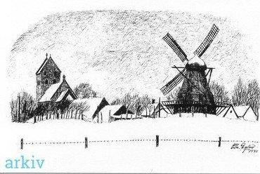 Møllen og Kirken set fra øst 1941 (tegning af Chr. Dybro)