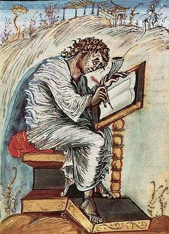 Billede af evangelisten Mathæus siddende med en fjerpen