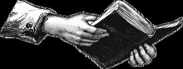 Hænder der holder en bog