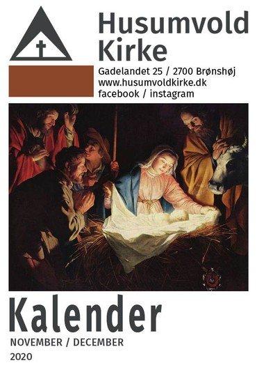 Klik på kirkekalenderens forsidebillede her og hent PDF af Husumvold Kirkes kalender for november/december 2020