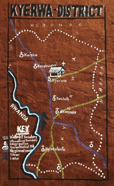 Foto af kort over Kyerwa